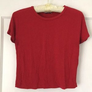 ZARA Comfy & Stretchy Red Crop Top T-Shirt Medium